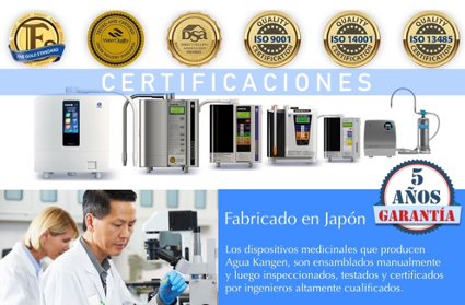 Certificaciones del Agua Kangen